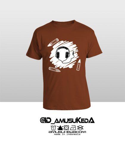 T Shir Template Doodle Headphone Male Coklat