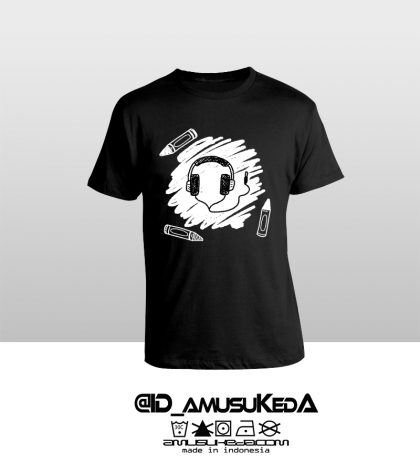 T Shir Template Doodle Headphone Male Hitam