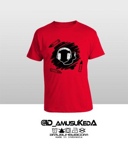 T Shir Template Doodle Headphone Male Merah